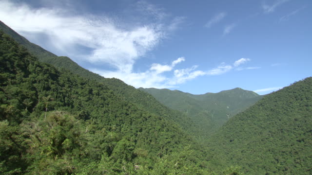 Green forested valley with blue sky and wispy white clouds, Sierra Nevada, Colombia