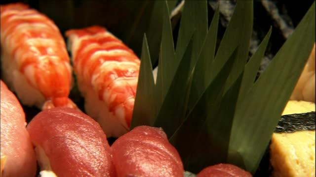 vídeos de stock, filmes e b-roll de green garnishes complement a tray of nigiri-sushi. - comida japonesa