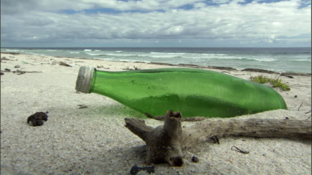 ms green glass bottle on beach / henderson island, pitcairn - pacific islands stock videos and b-roll footage