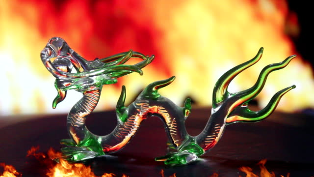 Green glass dragon fire