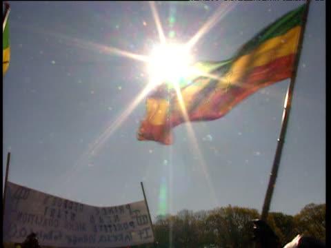 vídeos de stock e filmes b-roll de green gold and red of rastafarian flag during million man march. - 1995