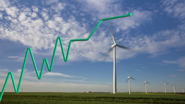 green growth curve in 3d design with arrow on a background of wind turbines in time lapse - energy efficient stock videos & royalty-free footage