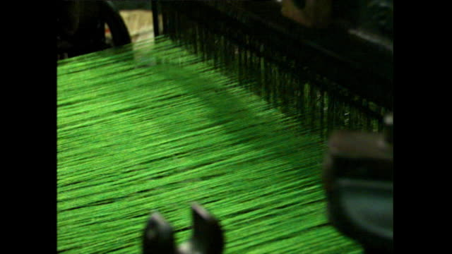 green harris tweed being woven on a loom; 1996 - pedal stock videos & royalty-free footage