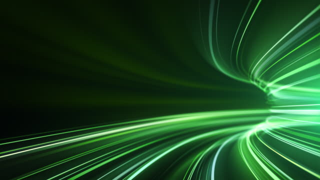 green high speed light streaks background - abstract, data transfer, bandwidth - loopable - macchina del tempo video stock e b–roll