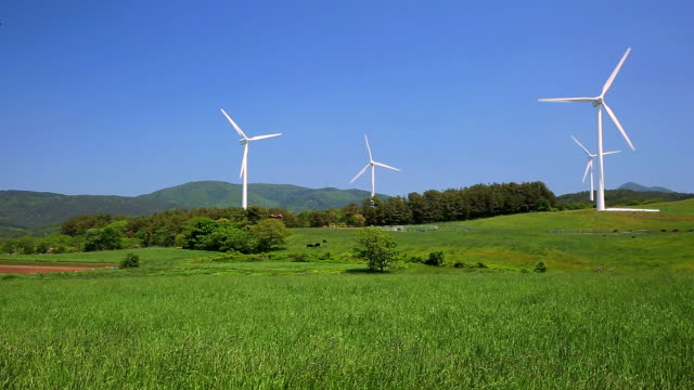 Green hill and turbine