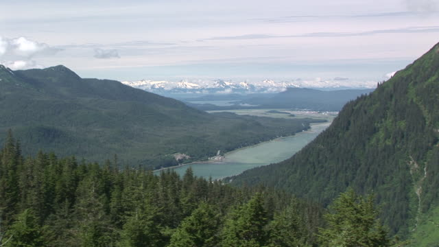 ha, ws, zi, green hills and gastineau channel seen from mount roberts, juneau, alaska, usa - juneau stock videos and b-roll footage