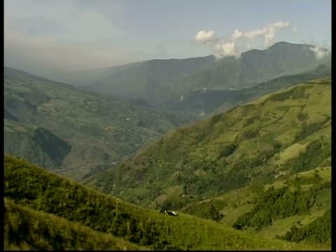 wa green hillside, pan left to grey smoke and ash cloud rising quickly upwards from crater, mount tunguragua, ecuador - ecuador stock-videos und b-roll-filmmaterial