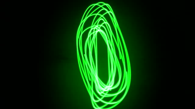 green laser light pattern driven with two frequencies sine wave on black background - sine wave stock videos & royalty-free footage