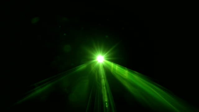Green Laser Light Scanning Through Camera On Black Background In 4K Resolution