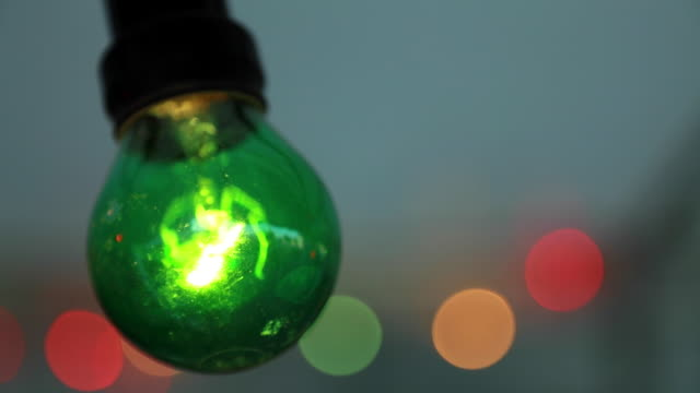 Green light bulb at garden party