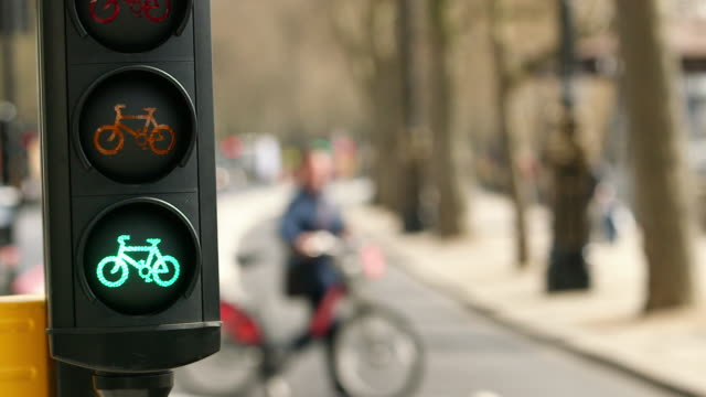 ms r/f green light for bike lane / victoria embankment, london, england, united kingdom - safety stock videos & royalty-free footage