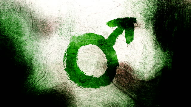 green mars, male, gender symbol on a high contrasted grungy and dirty, animated, distressed and smudged 4k video background with swirls and frame by frame motion feel with street style for the concepts of gender equality, women-social issues - gender symbol stock videos and b-roll footage