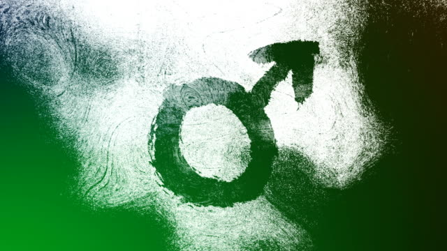 green mars, male, gender symbol on a high contrasted grungy and dirty, animated, distressed and smudged 4k video background with swirls and frame by frame motion feel with street style for the concepts of gender equality, women-social issues - gender symbol stock videos & royalty-free footage