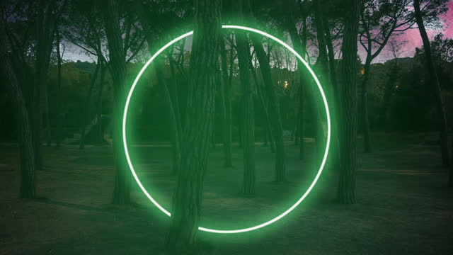 green neon circle installation glowing in the forest at night. - 平面形点の映像素材/bロール