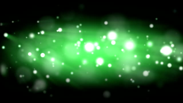 Green particles bokeh background loopable