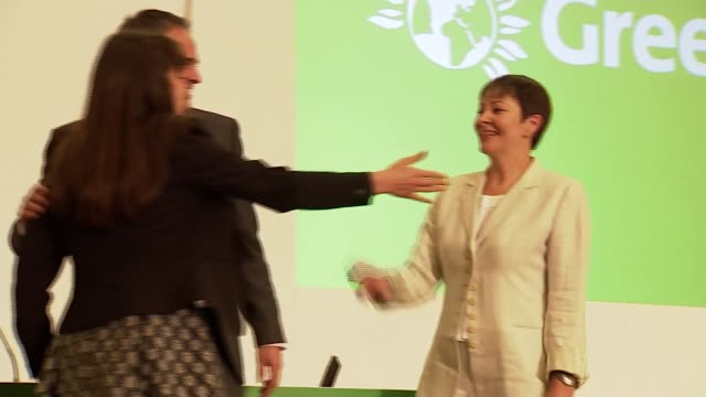 Green Party elects Caroline Lucas and Jonathan Bartley as coleaders ENGLAND West Midlands Birmingham Green Party Conference INT Caroline Lucas MP...