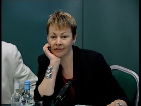 green party press conference england london int councillor darren johnson caroline lucas mep for south east england councillor keith taylor and jean... - green party stock videos and b-roll footage
