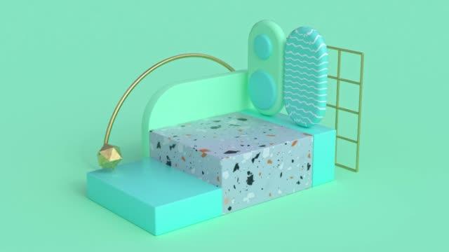 verde pastello scena geometrica forma movimento astratto rendering 3d - marmo roccia video stock e b–roll