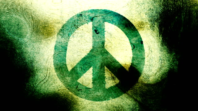 Green, peace symbol on a high contrasted grungy and dirty, animated, distressed and smudged 4k video background with swirls and frame by frame motion feel with street style for the concepts of peace, world peace, no war, protest, and tranquility