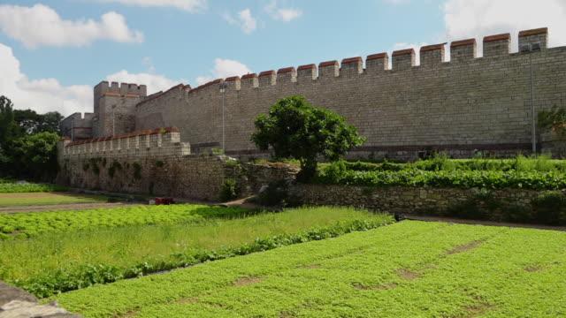 vídeos de stock, filmes e b-roll de a green plantation of crops next to the theodosian walls of constantinople - istambul