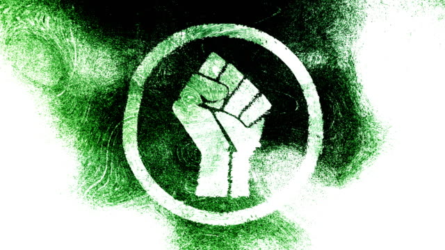 green, raised fist symbol on a high contrasted grungy and dirty, animated, distressed and smudged 4k video background with swirls and frame by frame motion feel with street style for the concepts of solidarity,support,human rights,worker rights,strength - smudged stock videos & royalty-free footage