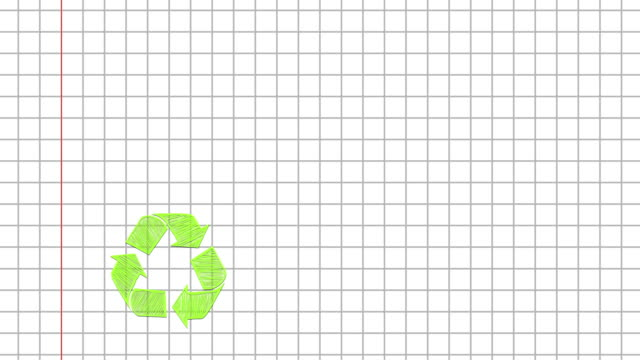 Green recycle symbol on paper