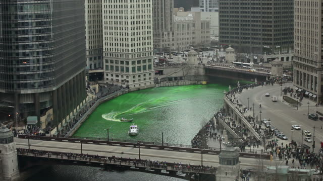 green river- chicago st. patty's day - river green stock videos & royalty-free footage