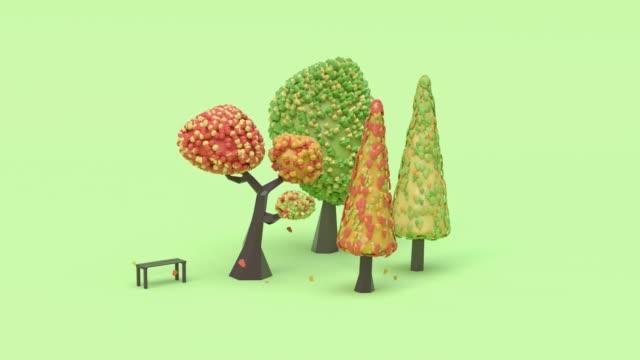 vídeos de stock, filmes e b-roll de verde cena outono colorido árvore cartoon estilo 3d renderização abstrato movimento folha gota/caindo - modelagem low poly
