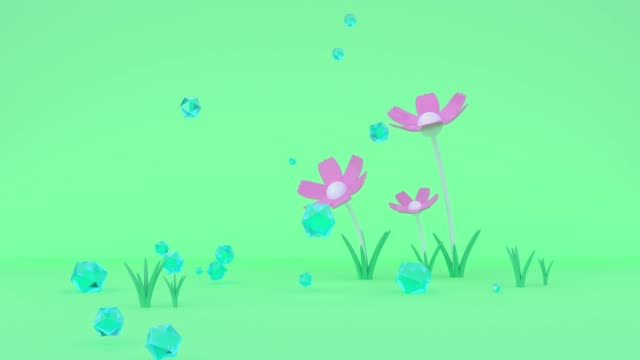 green scene pink flower spinning cartoon style abstract blue ball drop to floor environment nature summer spring garden concept