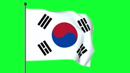 Green Screen 3D Illustration of The flag of South Korea, the Taegukgi, has three parts: a white rectangular background, a red and blue Taegeuk in its centre,  four black trigrams, one in each corner.