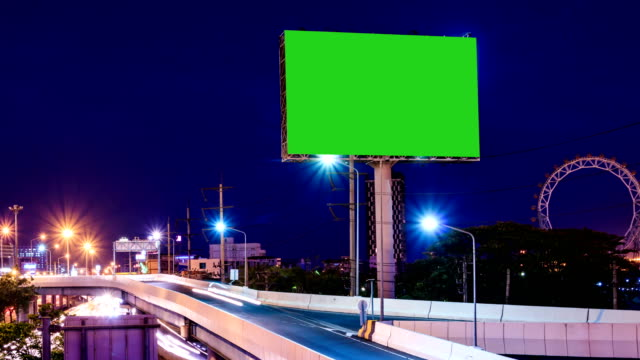 green screen advertising billborad on the road at twilight night - placard stock videos & royalty-free footage