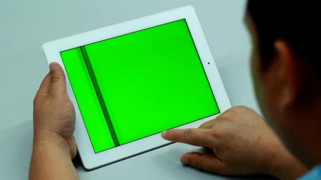 Green screen Digital tablet with breakfast