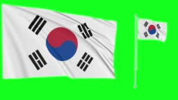 Green screen hiper realistic loop of South Korea two flags waving in the wind korean flagpole fluttering with highly detailed fabric texture animation 4k 3d chroma key