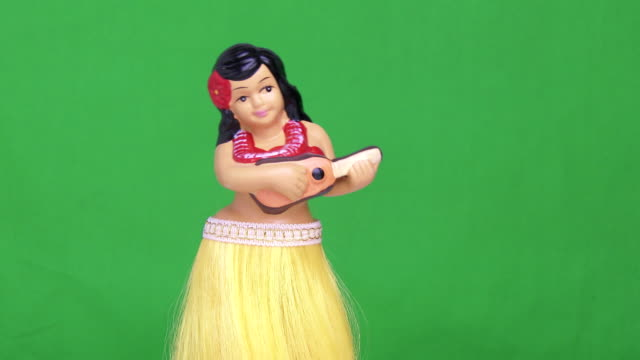 green screen hula girl doll - souvenir stock videos and b-roll footage