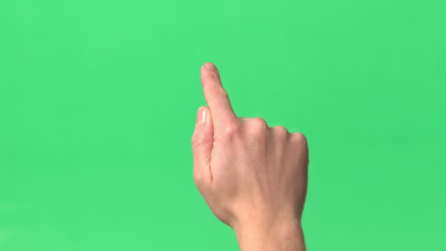 Green Screen - Man's hand - Action of swiping image from side to side