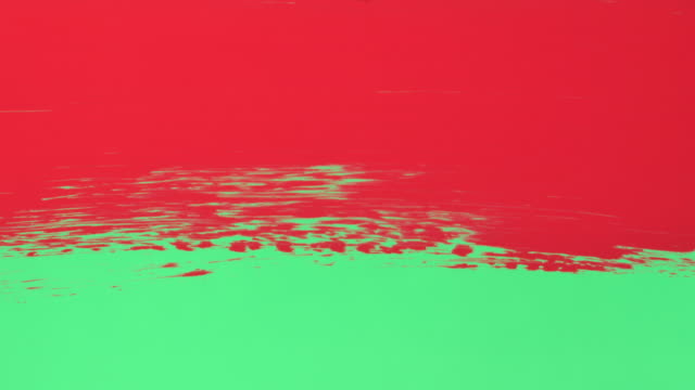 Green Screen - Red paint, painted on clear glass