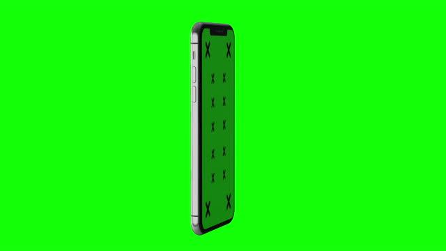 4k grüner bildschirm, der modernes handy-mock-up mit reflexionen dreht - vorlage stock-videos und b-roll-filmmaterial