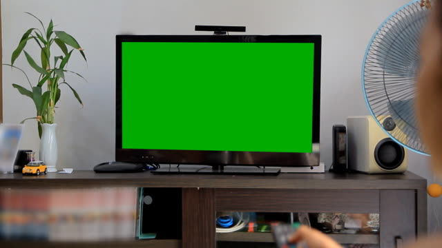 green screen tv on living room - television stock videos & royalty-free footage