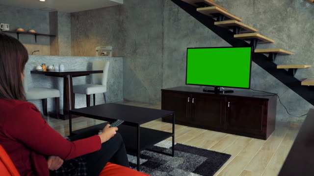green screen tv on living room - television chroma key stock videos & royalty-free footage