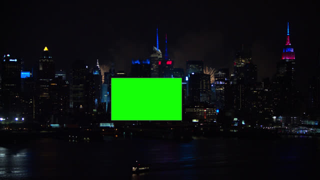 green screen with gray frame billboard new york city fireworks - billboard stock videos & royalty-free footage