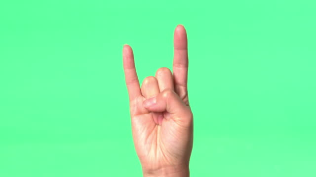 Green Screen - Woman's right hand gives various hand signs