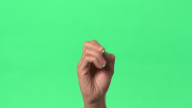 green screen - women's right hand writing ok with pencil on glass - single word stock videos & royalty-free footage