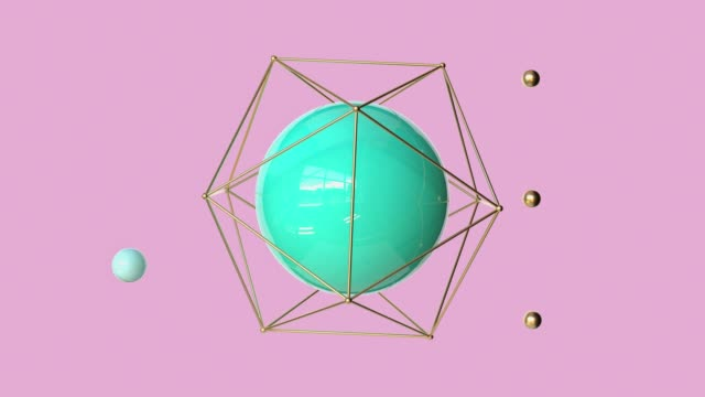 stockvideo's en b-roll-footage met groene bol gouden frame spinning abstract 3d rendering motion pink scene - geometrische vorm