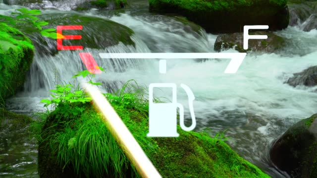 Green Stream with Fuel Gauge -  E to F
