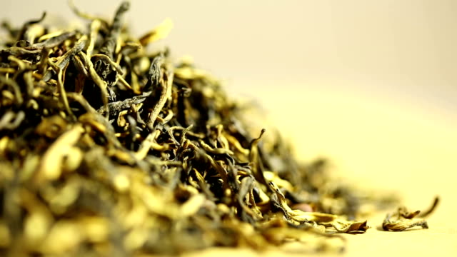 green tea. collage. - dried tea leaves stock videos & royalty-free footage