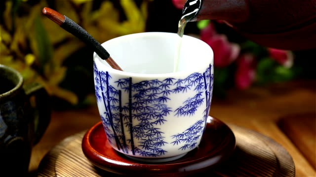 green tea - chinese tea cup stock videos and b-roll footage