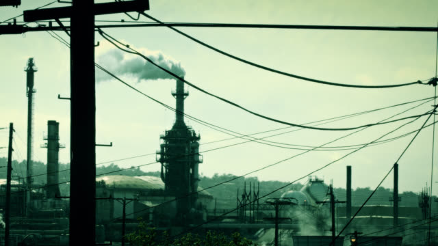 green toned oil refinery stack - port of los angeles stock videos & royalty-free footage