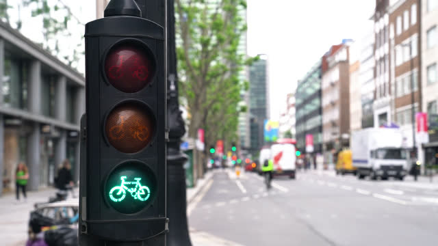 green traffic light with bicycle icon - road signal stock videos & royalty-free footage