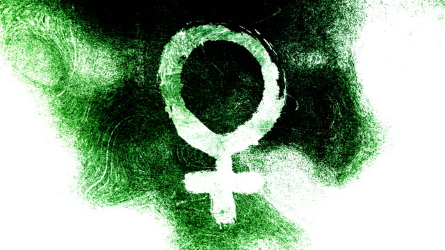 Green Venus, female, gender symbol on a high contrasted grungy and dirty, animated, distressed and smudged 4k video background with swirls and frame by frame motion feel with street style for the concepts of gender equality, women-social issues