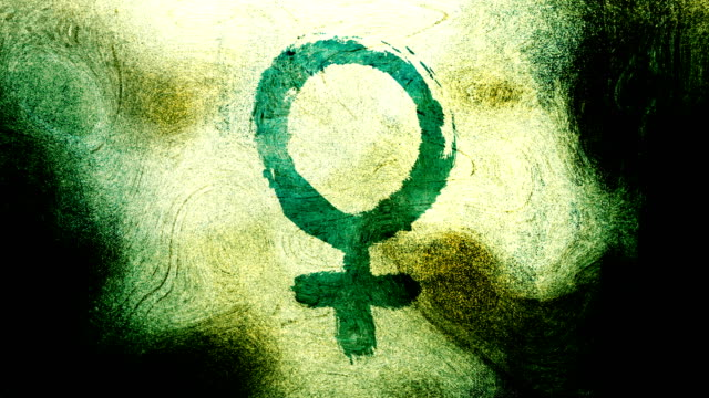 green venus, female, gender symbol on a high contrasted grungy and dirty, animated, distressed and smudged 4k video background with swirls and frame by frame motion feel with street style for the concepts of gender equality, women-social issues - gender symbol stock videos & royalty-free footage
